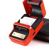 tragbarer Etikettendrucker, Bluetooth Thermo-Etikettendrucker mit wiederaufladbarem Akku, für Barcode, Büro, Lager, Versand, Kleidung, Etiketten, for Android and iOS-red||Standard+paper*3
