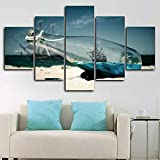 AWER Leinwandbild Boot in einem Flaschenschiff Meer Modulare Bilder 5 Stück Leinwand Bilder Kunstdruck Wanddeko modern Wandbilder Wand Aufhängen Mit Rahmen