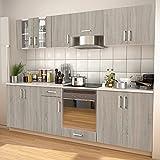 MUSEVANE 8-TLG. Küchenzeile Set mit Dunstabzugshaube Eiche-Optik