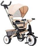 Chenbz Tricycle multifunktionale Kinder Dreirad Fahrrad-Baby-Spaziergänger 0-4 Jahre alte Kinder Kinderwagen (Farbe: beige)