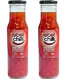 Rebel Chilli Sweet Chili Sauce 2er Pack - Süß-scharfe Chilli Sauce mit Zitronengras und Ingwer als Dip oder Marinade - Wenig Zucker, Wenig Salz - Glutenfrei - Keine Zusatzstoffe - 2 x 250ml Flaschen