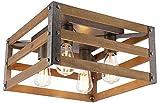 Trio Leuchten Deckenleuchte Paleta, Industrie, Holz, Stahl, Braun/Stahl, quadratisch, max. 4 x 28