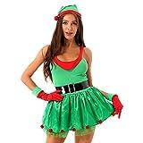 inhzoy Damen Weihnachtself Kostüm Kleid Weihnachten Elfen Kostüme Weihnachtsfeier Xmas Karneval Cosplay Verkleidung Tanzkleider Grün L