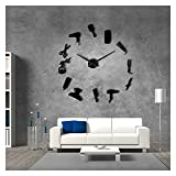 PYSDWE Modern Friseur-Shop-Haar-Werkzeug Große DIY Wanduhr Uhr Aufkleber Frameless Schönheitssalon Große Uhren Friseur Undefined Decor Home-Office-Dekorationen (Color : Black, Sheet Size : 37inch)