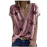 AFFGEQA Sommershirts Damen Spitze Strick Bluse V-Ausschnitte Sterndruck T-Shirt Kurzarm Sommerbluse Spitze Spleißen Oberteile Lose Tunika Shirt Hemd Elegant Streetwear