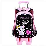 QINX Kinder Student Schule Tasche/Set Auf rädern Kinder Schule Roll rucksäcke für Kinder Schulter Tasche für Mädchen Schule Trolley Taschen schwarz