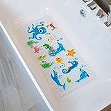 BEEHOMEE Rutschfeste Badematte für Kinder, rutschfest, schimmelresistent für Kinder, rutschfeste Badewannenmatten für Babys, 90 x 40 cm, Größe XL (blau)