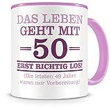 Samunshi® Tasse mit Spruch witzige Geschenke zum 50 Geburtstag Mann Frau Oma Opa Geburtstag Geschenkideen zum 50 Geburtstag (50 Jahre 300ml rosa/rosa)