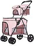 Leichter Kinderwagen Tragbare Haustierausrüstung oder Haustierwagen, Doppelhundwagen Einfacher Falten-Vierrad-Reise-Haustierwagen Oxford-Gewebe und abnehmbarer Träger, für unterwegs (Color : Pink)