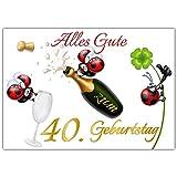 A4 XXL 40 Geburtstag Karte MARIENKÄFER mit Umschlag - lustige Geburtstagskarte Glückwunschkarte zum 40. Geburtstag für Frau & Mann von BREITENWERK