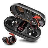 bakibo Kopfhörer Kabellos Bluetooth 5.1, Wireless Sport Kopfhörer mit Mikrofon in-Ear Stereo Sound Ipx7 Ohrhöre mit 800mAh LCD Ladetasche, 40 Stunden Spielzeit, Auto Pairing, Berührungssteuerung