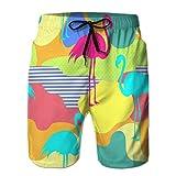LJKHas232 Herren Sommer Badehose Quick Dry Board Beach Shorts schöne Blumen Sommer Muster Hintergrund Tropische Palmblätter Flamingo Hibiskus perfekte Tapeten Web Pretty M