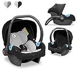 Lionelo Astrid Babyschale bis 13 Kg 3-Punkt-Sicherheitsgurte Seitenschutz Lendenwirbeleinsatz Dri-Seat (Schwarz)