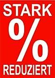 10 Werbeplakate'STARK REDUZIERT' DIN A4 rot/weiß, Kundenstopper - Aufsteller - Plakate - Plakatkarton [P-A4-7]