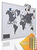 VACENTURES Magnetische Pinnwand Weltkarte White inkl. 2 x 15 magnetische Pins I Markiere Deine Reiseziele I Sammel Fotos und Magnete I Magnet Poster - World map (XXL (119x84cm))