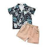 Kleinkind Baby Jungen Shorts Set, Herren Outfit Kreative Blätter Druck Shirt Ärmel Revers Top + Einfarbige Kurze Hose (Green, 3-4T)