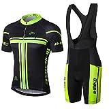INBIKE Radtrikot Set Herren Fahrrad Trikot Kurzarm Fahrradbekleidung Trägerhose mit 3D Sitzpolster für Radfahren MTB Jogging,XL