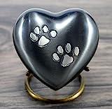 eSplanade Pet Cremation Urn Memorials urn Container Jar Pot   Brass Urn   Metal Urn   Burial Urn   Memorials Keepsake   Pet Dog Cat urn (Grau mit Ständer)