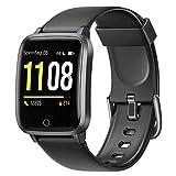 Letsfit Smartwatch, Fitness Tracker Armbanduhr mit Schlafmonitor, Heart Rate Monitor, IP68 Wassedicht Smart Watch mit Pedometer Stoppuhr, Activity Tracking für Damen und Herren (Schwarz)