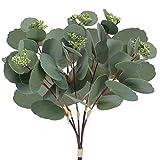 HUAESIN 5 Pcs Künstliche Pflanzen Eukalyptus Kunstblatt Deko Kunstpflanzen Eukalyptus Plastikpflanzen Grün für Outdoor Balkon Garten Topf Hochzeit Zuhause Dekoration