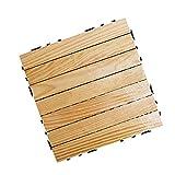 LHSJY-DP Holzfußbodenfliesen, Hartholz Interlocking Patio Deck Fliesen Kann Selbst Gespleißt Werden Einfach Zu Verlegende Bodenfliese Für Den Innen- Und Außenbereich (10 PCS)
