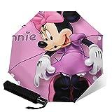 Minnie Cartoon Maus (3) Automatischer Dreiklappschirm Leicht und tragbar für sonnige und regnerische Zwecke, Sonnenschutz und UV-beständig