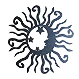 Aardich Garten-Wand-Sonne-Mond-Sterne-Metall-Kunst-Verzierung Hängen Skulptur Fertigkeit-Dekoration für den Außenzaun Porch Startseite Patio Schwarz Außengarteng
