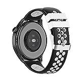 22mm Armband für Huawei Watch 3/Huawei Watch 3 Pro, Silikon Ersatzband Verstellbares Weiches Silikonband,Uhrenarmband Armbänder für Huawei Watch GT2 Pro/watch GT 42mm/46mm/GT2 46MM (Schwarz-Weiss)
