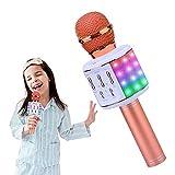 ShinePick Karaoke Mikrofon, 5 in 1 Drahtloses Bluetooth Mikrofon mit Lautsprecher und Dynamisches Licht, Lustige Geschenke für Teenager Mädchen Jungen Mikrofon Kinder Kompatibel mit Android/iOS/PC
