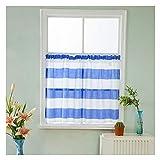 SimidunEUR Voile Vorhänge Kurze Gardinen mit Streifenmustern Dekoschals Ösenschals Fensterdekoration für Fenster Wohnzimmer Schlafzimmer,Blau,74 * 60 cm