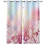 LUOWAN 3D Digitaldruck Blickdicht verdunkelung Vorhang Küche - 140x160 cm - Rosa Kunst Blumen Pflanzen - Dekorative Vorhänge Für Wohnzimmer und Schlafzimmer Junge mit Mädchen