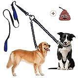 Superboom Doppelleine Doppelte Hundeleine Keine Verwicklung, Abnehmbare Bungee Hund Leine für 1 oder 2 Hunde bis 50kg zum Laufen, Dual Doggie Leash Zwei Gepolsterte Griffe mit Kotbeutelsp