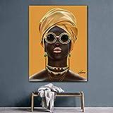 LLXXD Drucken Schwarzes Mädchen Schmuck Leinwand Kunst Frauen Wandmalerei für Wohnzimmer Wandkunst Poster und Drucke Wandbilder Dekor-60x80cm (kein Rahmen)