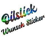 Oilslick Glitzer Chrom Wunsch Aufkleber Selbst Gestalten Heck Frontscheibe Regenbogen Effekt Folie Namen Spruch Low Car Wunsch-Text Tuning Sticker