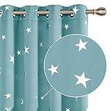 Deconovo Verdunkelungsvorhang Gardine Blickdicht Sterne Ösenvorhang Thermo Schlafzimmer 260x140 cm Himmelblau 2er Set