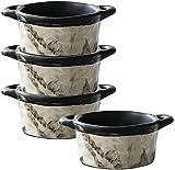 LLJPJXB Müslischalen, Schüsseln Salatschüssel, 6 Unzen, 4er-Set, Keramikofen Safe Round Bowl, Für Dessert Souffle Gewürzsaucen Dip Dressing Custard Cup