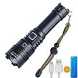 Helius LED Taschenlampe USB Wiederaufladbare Taschenlampen CREE XHP70 LED Extrem Hell 4500 Lumen IPX67 Wasserdicht Aufladbar Fackel für Camping Wandern und Notfälle Anwendung (21700 Akku)