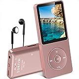AGPTEK MP3 Player, 8GB verlustfrei MP3 mit 1,8 Zoll Bildschirm, 70 Stunden Wiedergabezeit tragbare Musik Player mit Kopfhörer, mit FM Radio, Bilder, Aufnahmen, E Buch, bis 64GB TF Karte, Rosagold