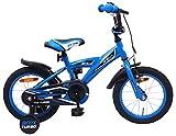 Amigo BMX Turbo - Kinderfahrrad für Jungen - 14 Zoll - mit Handbremse, Rücktritt, Lenkerpolster und Stützräder - ab 3-4 Jahre - Blau