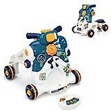 COSTWAY 3 in 1 Lauflernwagen mit Lichtern und Musik, Lauflernhilfe & Rutschauto & Spielbrett, Baby Walker für Baby von 6-36 Monaten, Gehfrei 46 x 46 x 46cm (Blau)