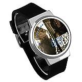 Armbanduhren,Touchscreen LED Uhr Film He Walking Dead Wasserdicht Leuchtende Elektronische Uhr DIY Kreatives Geschenk Silber Shell Black Belt