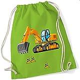 Turnbeutel für Jungen | Motiv Bagger & Baustelle | Stoffbeutel aus Baumwolle zum Zuziehen für Kinder | Zuziehrucksack mit Kordel (limette)