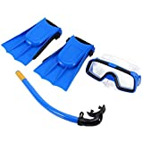 WFIT Kinder Schnorchel Set Tauchen Set Schwimmbrille Atemschlauch Mit Flippers Für Jungen-mädchen-blau