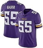 NMABY Männer 55# Barr Víkings Rugby Jersey-Trikots, American Football Sportswear, Casual T-Shirt Kleidung, Stickerei Fans Version Fan T-Shirts purple-2XL