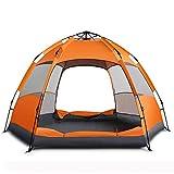 KIUY Kuppelzelt, Camping im Freien 3-5 Personen / 5-7 Personen Familienzelt, zum Wandern Camping im Freien,Orange,3/4 People