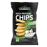 Layenberger High Protein Chips Sour Cream & Onion, satte 43,8 % Eiweiß und nur 19,8 % Kohlenhydrate bei nur 3,2 g Zucker, nicht frittiert, (1 x 75 g)