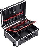 Meister Werkzeugtrolley leer - 460 x 350 x 190 mm - Mit Rollen - Individuelle Fachaufteilung - 15 Werkzeugtaschen - Mit Gummibändern - 15 kg Tragkraft - Stabiler Alu-Koffer / Werkzeugkiste / 9095080