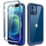 Diaclara 360 Grad Hülle Kompatibel mit iPhone 12/12 Pro 6,1 Zoll, Ganzkörper Schutzhülle, Handyhülle mit eingebautem Anti-Kratzer Displayschutz, stoßfeste Bumper Case, Dunkel Blau