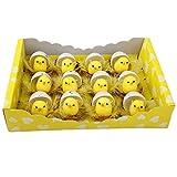 Osterküken Deko, 12er Gelbe Entzückende flaumige kleine Küken mit kükenNest und Eier, Ostern Dekoration für Tabellen und Partydekorationen (Set C)