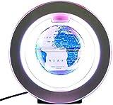 WYZXR Floating Globe Mit Farbigen LED-Leuchten Anti-Schwerkraft-Magnetschwebebahn Rotierende Weltkarte Für Kinder Geschenk Home Office Schreibtisch Dekoration, Modell R4 Blau Und Weiß Porzellan